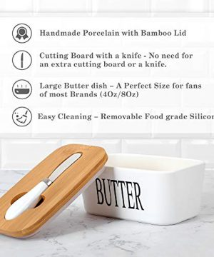 White Butter Dish With Lid 650ml Butter Dishes With Covers Covered Butter Dish For Countertop Large Butter Dish With Knife Fliptop Butter Dish Wide Butter Dish Ceramic Butter Dish 0 1 300x360