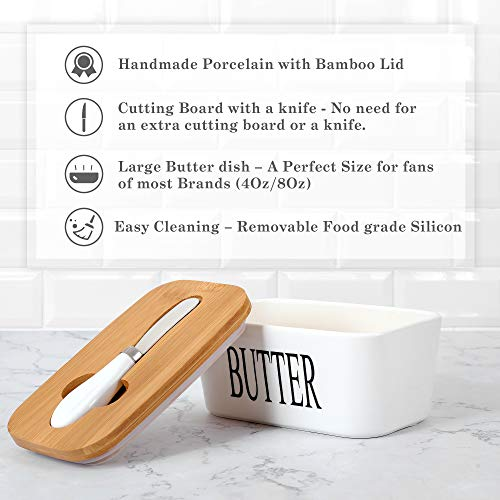 White Butter Dish With Lid 650ml Butter Dishes With Covers Covered Butter Dish For Countertop Large Butter Dish With Knife Fliptop Butter Dish Wide Butter Dish Ceramic Butter Dish 0 1