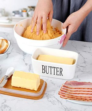 White Butter Dish With Lid 650ml Butter Dishes With Covers Covered Butter Dish For Countertop Large Butter Dish With Knife Fliptop Butter Dish Wide Butter Dish Ceramic Butter Dish 0 2 300x360