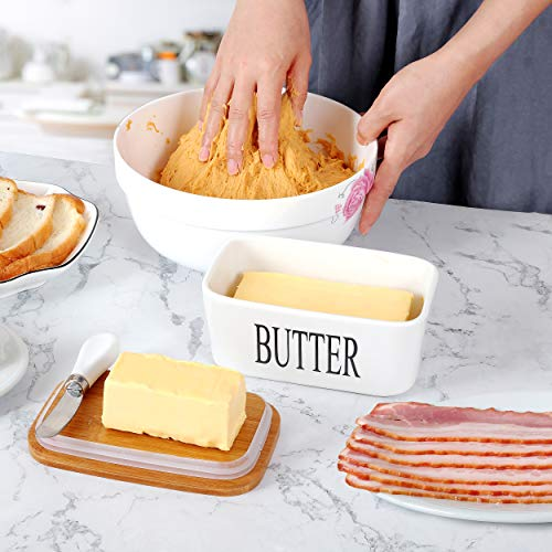White Butter Dish With Lid 650ml Butter Dishes With Covers Covered Butter Dish For Countertop Large Butter Dish With Knife Fliptop Butter Dish Wide Butter Dish Ceramic Butter Dish 0 2