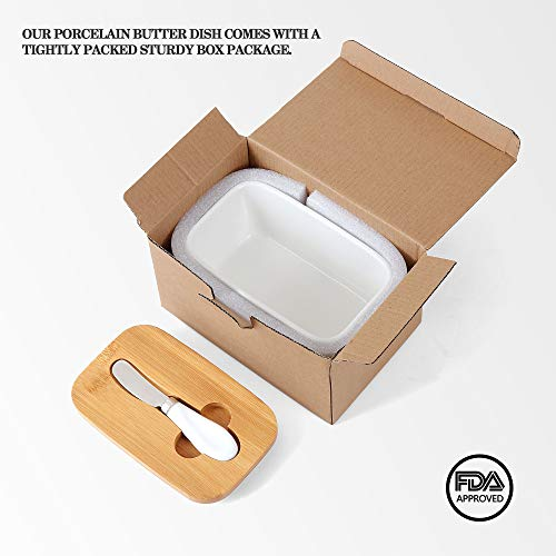 White Butter Dish With Lid 650ml Butter Dishes With Covers Covered Butter Dish For Countertop Large Butter Dish With Knife Fliptop Butter Dish Wide Butter Dish Ceramic Butter Dish 0 3