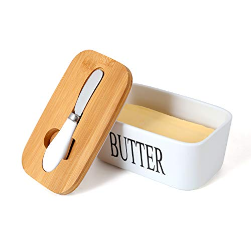 White Butter Dish With Lid 650ml Butter Dishes With Covers Covered Butter Dish For Countertop Large Butter Dish With Knife Fliptop Butter Dish Wide Butter Dish Ceramic Butter Dish 0