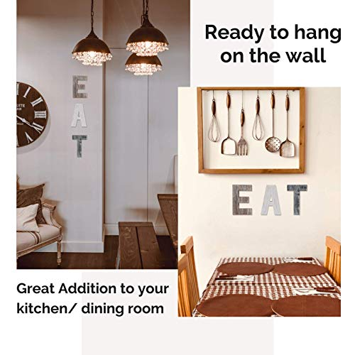 Wooden Eat Sign For Kitchen Decorations Rustic Eat Signs Kitchen Wall Decor Farmhouse Kitchen Wall Art EAT Letters Farmhouse Kitchen Decor For Dining Room Eatery Easy To Hang Or Stand On Table 0 0
