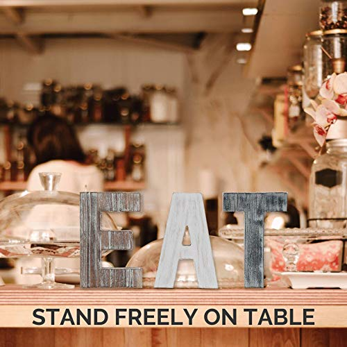 Wooden Eat Sign For Kitchen Decorations Rustic Eat Signs Kitchen Wall Decor Farmhouse Kitchen Wall Art EAT Letters Farmhouse Kitchen Decor For Dining Room Eatery Easy To Hang Or Stand On Table 0 3