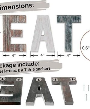 Wooden Eat Sign For Kitchen Decorations Rustic Eat Signs Kitchen Wall Decor Farmhouse Kitchen Wall Art EAT Letters Farmhouse Kitchen Decor For Dining Room Eatery Easy To Hang Or Stand On Table 0 5 300x360
