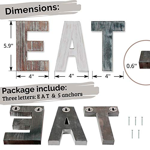 Wooden Eat Sign For Kitchen Decorations Rustic Eat Signs Kitchen Wall Decor Farmhouse Kitchen Wall Art EAT Letters Farmhouse Kitchen Decor For Dining Room Eatery Easy To Hang Or Stand On Table 0 5