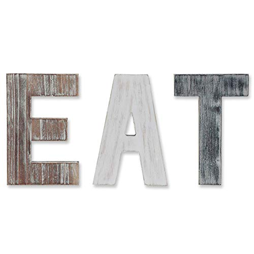 Wooden Eat Sign For Kitchen Decorations Rustic Eat Signs Kitchen Wall Decor Farmhouse Kitchen Wall Art EAT Letters Farmhouse Kitchen Decor For Dining Room Eatery Easy To Hang Or Stand On Table 0