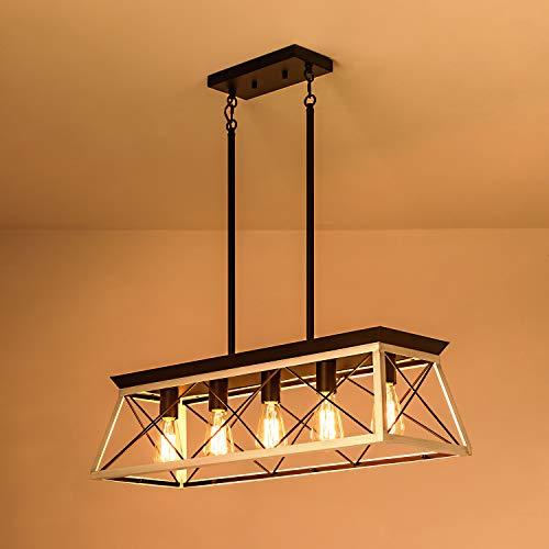 XIPUDA 5 Light Linear Pendant Light Fixture Kitchen Island Lighting Industrial Metal Farmhouse Chandeliers For Dinning Room Living Room 0 0