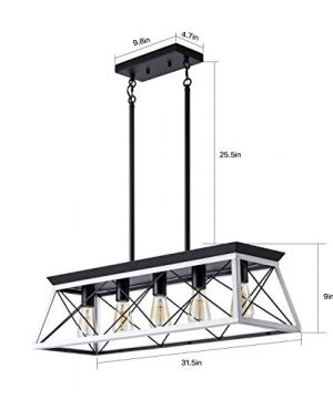 XIPUDA 5 Light Linear Pendant Light Fixture Kitchen Island Lighting Industrial Metal Farmhouse Chandeliers For Dinning Room Living Room 0 1 300x360