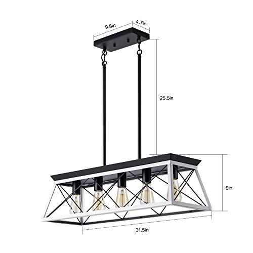XIPUDA 5 Light Linear Pendant Light Fixture Kitchen Island Lighting Industrial Metal Farmhouse Chandeliers For Dinning Room Living Room 0 1