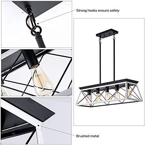 XIPUDA 5 Light Linear Pendant Light Fixture Kitchen Island Lighting Industrial Metal Farmhouse Chandeliers For Dinning Room Living Room 0 3