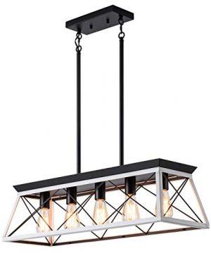 XIPUDA 5 Light Linear Pendant Light Fixture Kitchen Island Lighting Industrial Metal Farmhouse Chandeliers For Dinning Room Living Room 0 300x360