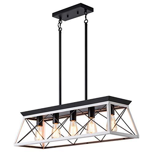 XIPUDA 5 Light Linear Pendant Light Fixture Kitchen Island Lighting Industrial Metal Farmhouse Chandeliers For Dinning Room Living Room 0