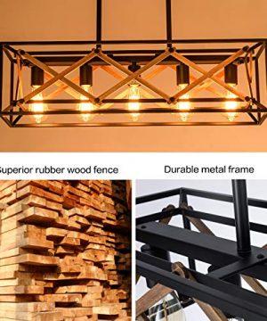 XIPUDA Kitchen Island Pendant Light Fixture Farmhouse Chandeliers Lighting Pool Table Linear Lights Wood Metal Frame Hanging Light For Dinning Room 5 Light 0 0 300x360
