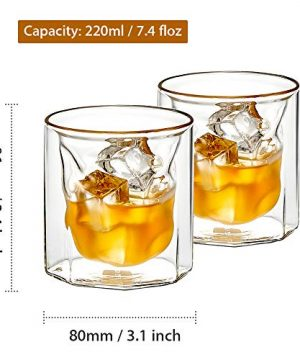 ZENS Whiskey Glass SetHand Blown Double Walled Lowball Scotch Whiskey Glasses Of 2Unique Octagonal 74oz Old Fashioned Glasses For BourbonCognac Gift 0 0 300x360