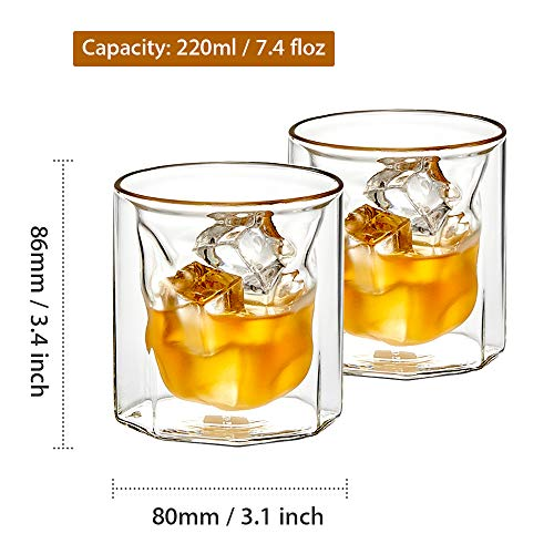 ZENS Whiskey Glass SetHand Blown Double Walled Lowball Scotch Whiskey Glasses Of 2Unique Octagonal 74oz Old Fashioned Glasses For BourbonCognac Gift 0 0
