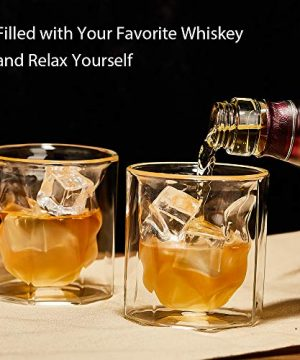 ZENS Whiskey Glass SetHand Blown Double Walled Lowball Scotch Whiskey Glasses Of 2Unique Octagonal 74oz Old Fashioned Glasses For BourbonCognac Gift 0 1 300x360