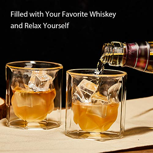 ZENS Whiskey Glass SetHand Blown Double Walled Lowball Scotch Whiskey Glasses Of 2Unique Octagonal 74oz Old Fashioned Glasses For BourbonCognac Gift 0 1