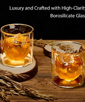 ZENS Whiskey Glass SetHand Blown Double Walled Lowball Scotch Whiskey Glasses Of 2Unique Octagonal 74oz Old Fashioned Glasses For BourbonCognac Gift 0 2 300x360