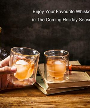 ZENS Whiskey Glass SetHand Blown Double Walled Lowball Scotch Whiskey Glasses Of 2Unique Octagonal 74oz Old Fashioned Glasses For BourbonCognac Gift 0 4 300x360