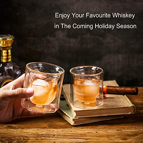 ZENS Whiskey Glass SetHand Blown Double Walled Lowball Scotch Whiskey Glasses Of 2Unique Octagonal 74oz Old Fashioned Glasses For BourbonCognac Gift 0 4