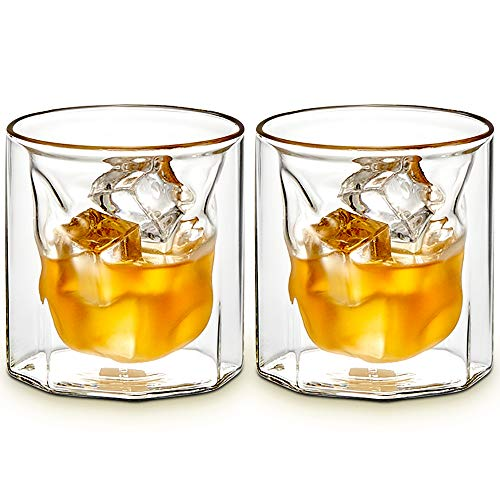 ZENS Whiskey Glass SetHand Blown Double Walled Lowball Scotch Whiskey Glasses Of 2Unique Octagonal 74oz Old Fashioned Glasses For BourbonCognac Gift 0