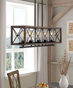 Zeyu 5 Light Kitchen Island Lighting Farmhouse Pendant Lighting With Clear Glass Wood And Black Finish 011 5 WFBK 0 0 300x360