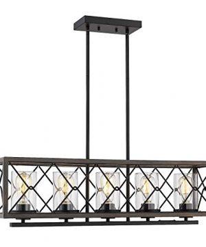 Zeyu 5 Light Kitchen Island Lighting Farmhouse Pendant Lighting With Clear Glass Wood And Black Finish 011 5 WFBK 0 300x360