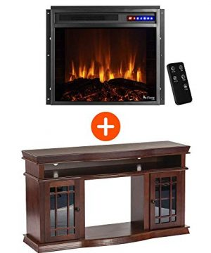 E Flame USA Jackson TV Stand And Jackson LED Electric Fireplace Insert Stove With Remote Bundle 3 D Logs And Fire Warm Cherry Finish 0 300x360