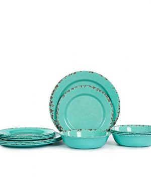 12pcs Melamine Dinnerware Set For 4 Outdoor Use Dinner Plates And Bowls Set For Camping Unbreakable Turquoise 0 0 300x360