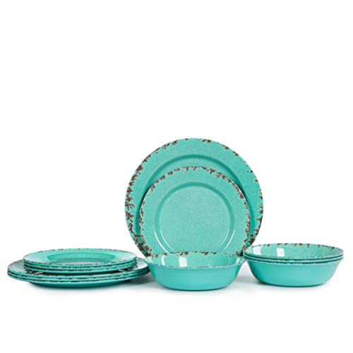 12pcs Melamine Dinnerware Set For 4 Outdoor Use Dinner Plates And Bowls Set For Camping Unbreakable Turquoise 0 0