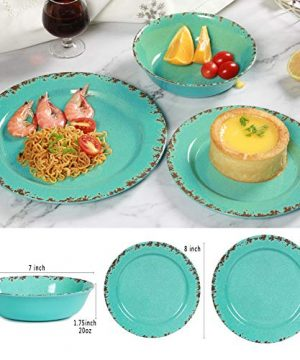 12pcs Melamine Dinnerware Set For 4 Outdoor Use Dinner Plates And Bowls Set For Camping Unbreakable Turquoise 0 1 300x360
