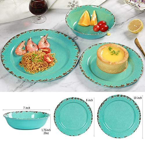 12pcs Melamine Dinnerware Set For 4 Outdoor Use Dinner Plates And Bowls Set For Camping Unbreakable Turquoise 0 1