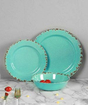 12pcs Melamine Dinnerware Set For 4 Outdoor Use Dinner Plates And Bowls Set For Camping Unbreakable Turquoise 0 2 300x360