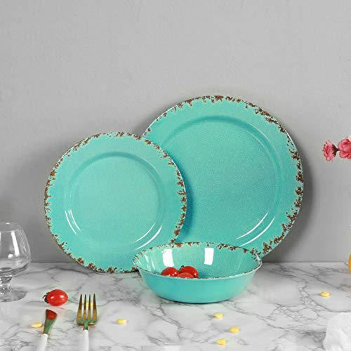 12pcs Melamine Dinnerware Set For 4 Outdoor Use Dinner Plates And Bowls Set For Camping Unbreakable Turquoise 0 2