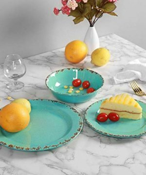 12pcs Melamine Dinnerware Set For 4 Outdoor Use Dinner Plates And Bowls Set For Camping Unbreakable Turquoise 0 3 300x360