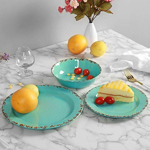 12pcs Melamine Dinnerware Set For 4 Outdoor Use Dinner Plates And Bowls Set For Camping Unbreakable Turquoise 0 3
