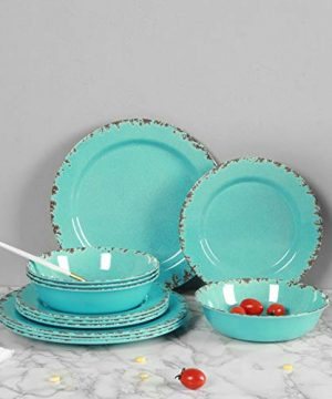 12pcs Melamine Dinnerware Set For 4 Outdoor Use Dinner Plates And Bowls Set For Camping Unbreakable Turquoise 0 4 300x360