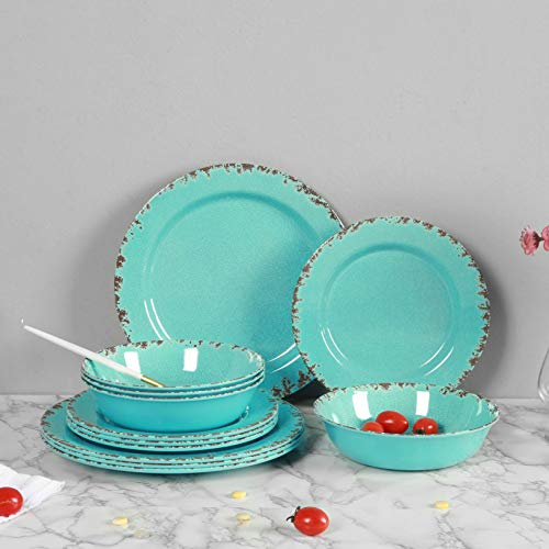 12pcs Melamine Dinnerware Set For 4 Outdoor Use Dinner Plates And Bowls Set For Camping Unbreakable Turquoise 0 4