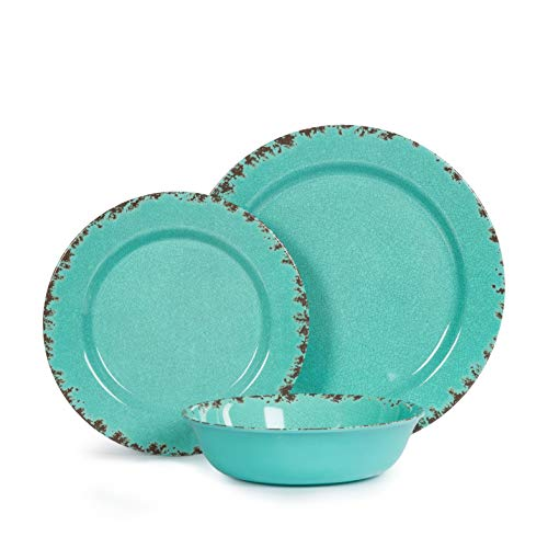 12pcs Melamine Dinnerware Set For 4 Outdoor Use Dinner Plates And Bowls Set For Camping Unbreakable Turquoise 0