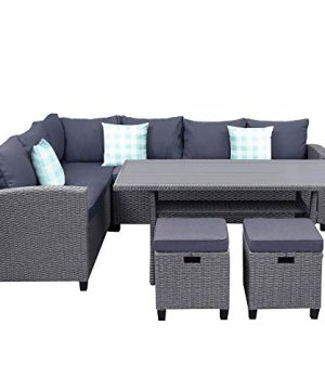 5 Pieces Patio Dining Set For 4 To 8 PE Wicker Outdoor Furniture Set All Weather Rattan Patio Sectional Conversation Set With Dining Table And Ottomanwith Cushions And 3 Bonus Throw Pillows 0 300x360