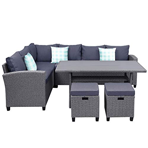 5 Pieces Patio Dining Set For 4 To 8 PE Wicker Outdoor Furniture Set All Weather Rattan Patio Sectional Conversation Set With Dining Table And Ottomanwith Cushions And 3 Bonus Throw Pillows 0