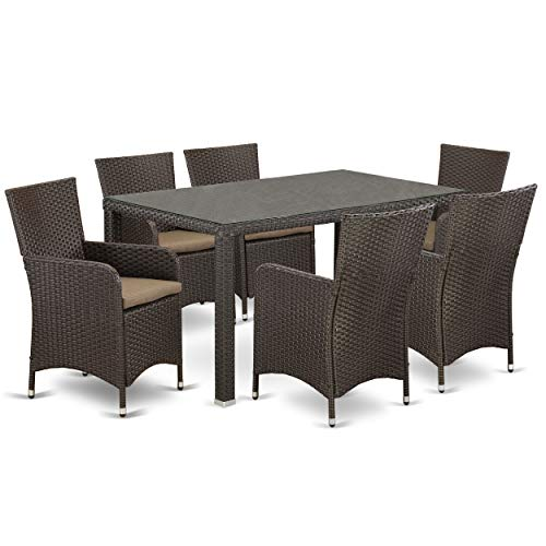 7 Pc Back Yard Wicker Dining Set For 6 In Dark Brown Finish 0 0
