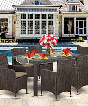 7 Pc Back Yard Wicker Dining Set For 6 In Dark Brown Finish 0 300x360