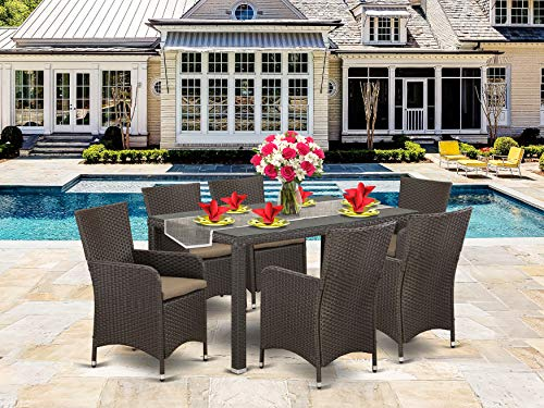 7 Pc Back Yard Wicker Dining Set For 6 In Dark Brown Finish 0