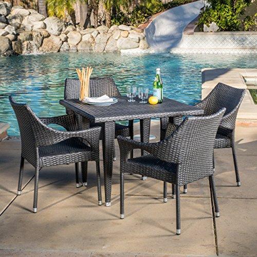 Alameda Outdoor 5 Piece Grey Wicker Dining Set 0