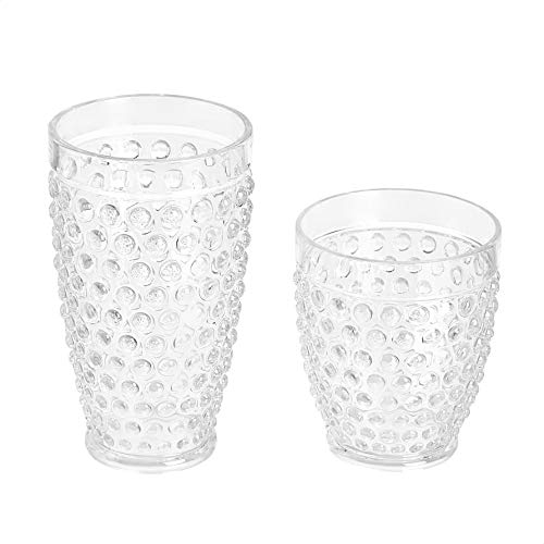 Amazon Basics 12 Piece Tritan Glass Drinkware Set Hobnail Highball And Double Old Fashioned 6 Pieces Each 18oz13oz 0 1