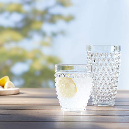 Amazon Basics 12 Piece Tritan Glass Drinkware Set Hobnail Highball And Double Old Fashioned 6 Pieces Each 18oz13oz 0 3