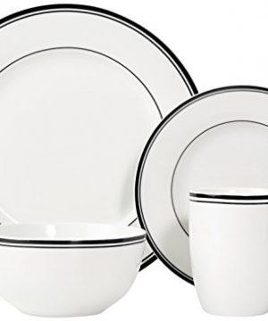 Amazon Basics 16 Piece Cafe Stripe Kitchen Dinnerware Set Plates Bowls Mugs Service For 4 Black 0 0 300x360