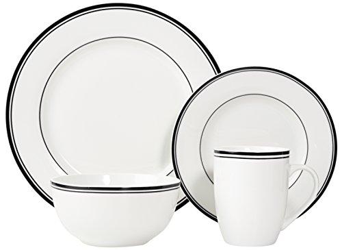 Amazon Basics 16 Piece Cafe Stripe Kitchen Dinnerware Set Plates Bowls Mugs Service For 4 Black 0 0